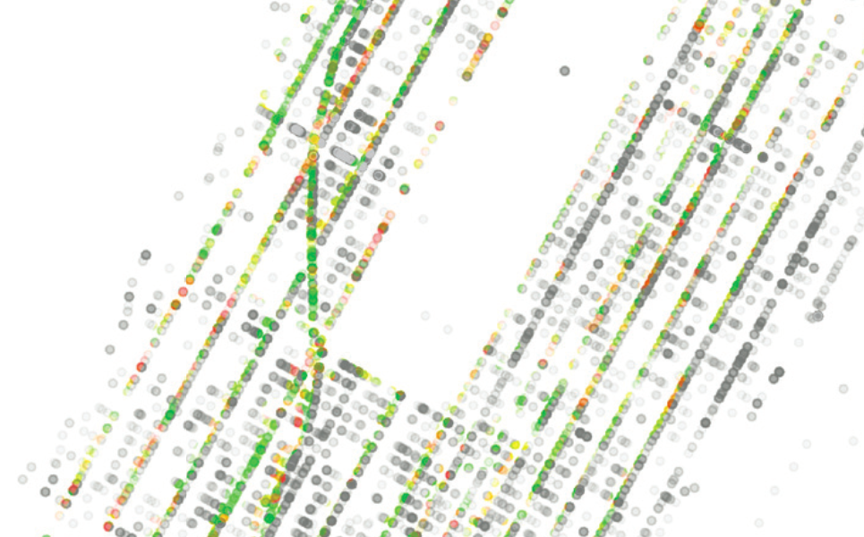 Case study of quantified self plus municipal data in New York City. Colored dots indicate the mental state of a cyclist. Dot density indicates 311 calls to the NYC Department of Transportation.
